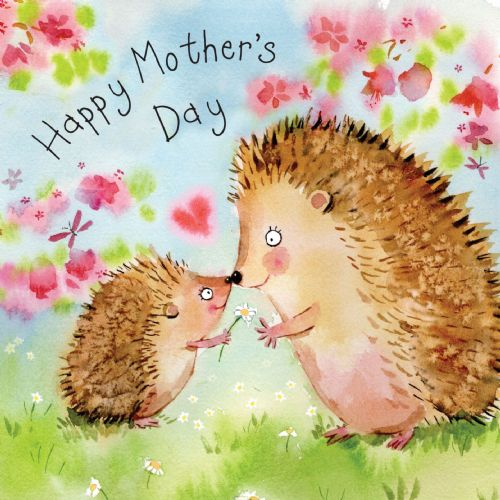 FIZ32 - Mothers Day Card Hedgehogs
